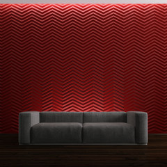 sofa on red background