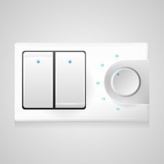 Illustration of white switch with dimmer