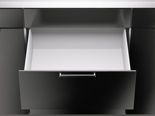 Opened black drawer