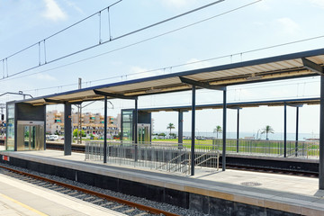 The Railways Stations in the suburbs of Barcelona. Spain.