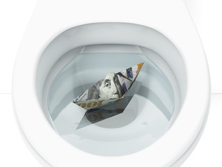 White toilet with boat from dollar bill