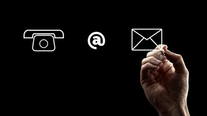 Phone, At Sign and Envelope Icons