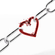 broken chain with red heart element