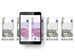 Black tablet pc with euro bills