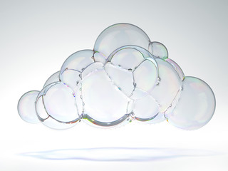 soap bubble in the shape of a cloud