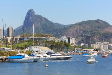 Christ the Redeemer Corcovado Guanabara bay boats yacht, Rio de