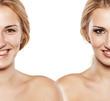 comparison portrait of a woman with and without makeup