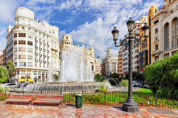 Cityscape of Valencia - third size population  city in Spain.