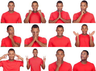 Latin man with different gestures.