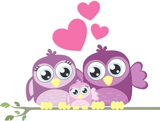 cute birds family love
