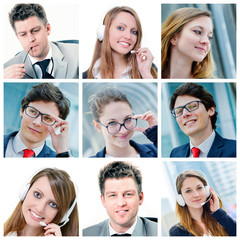 collage of attractive business people