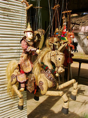 Display of traditional puppets at the street market, Mingun, Man