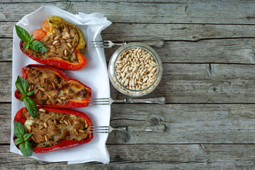Stuffed Peppers And Pine Seeds