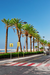 Seafront, beach,coast in Spain. Suburb of Barcelona, Catalonia