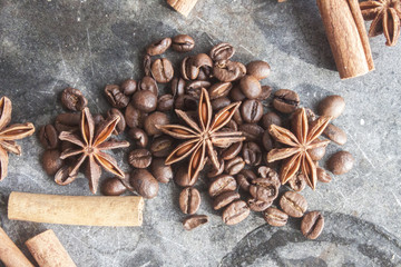 Star anis, coffe beans and cinnamon sticks