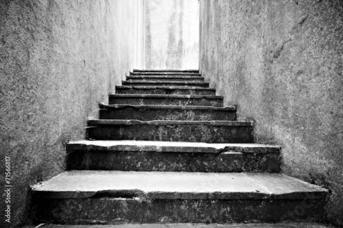 canvas print picture Old scary stone stairs