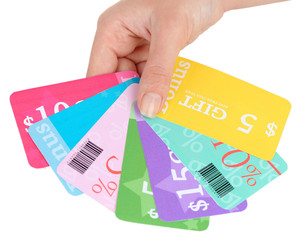 Set of coupons for shopping to save money