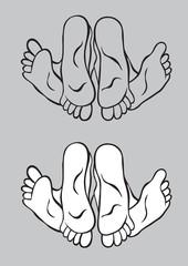 Foot kick couple, art vector design