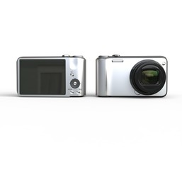 Small cameras on white background front and back view