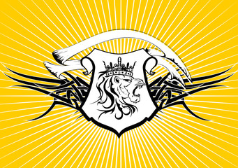 heraldic lion head coat of arms background5