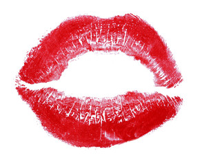 Lipstick kiss isolated on white