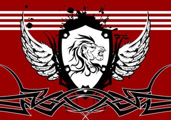 heraldic lion head coat of arms background