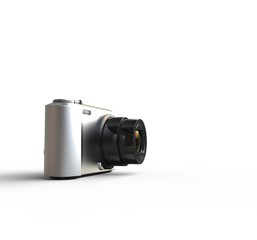 Small silver camera on white background - far shot