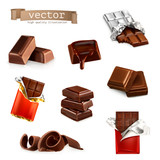Chocolate bars and pieces, vector set