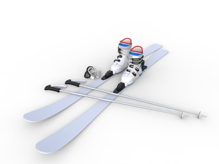 Skis with ski boots - wide angle on white background