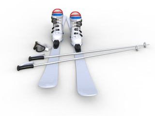 Skis on white background