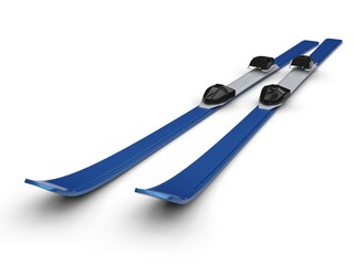 Blue skis on white background