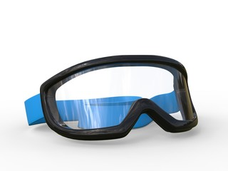 Black rimmed ski goggles on white background