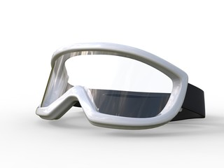 White rimmed ski goggles on white background