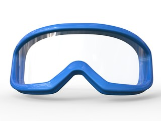 Blue ski goggles on white background