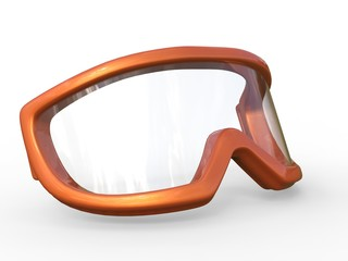 Orange ski goggles on white background