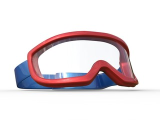 Blue and red ski goggles on white background
