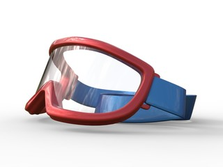 Red ski goggles on white background
