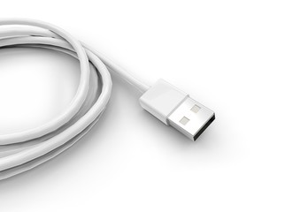 Usb cable - detail on white background