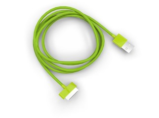 Green usb cable on white background