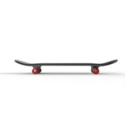 Black skateboard with red wheels