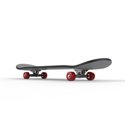 Black skateboard with red wheels - back view