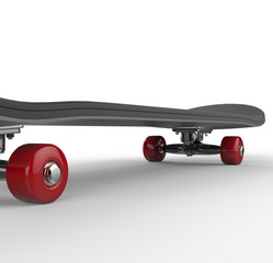 Black skateboard with red wheels - close up