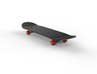 Black skateboard with red wheels - far shot
