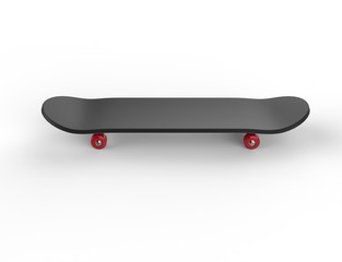 Black skateboard with red wheels - top view