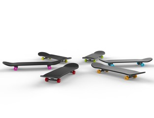 Skateboards with colorful wheels