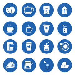 Coffee icons set on blue