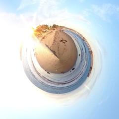 Circular beach view in California