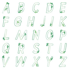 Green alphabet floral  can be used for design greeting cards