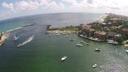 Aerial view of Florida coastal inlet and marina