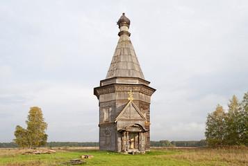 Ancient wooden church in Krasnaya Lyaga, Russia